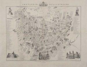 Gebr. Braakensiek ' Amsterdam Geïllustreerd' (illustrated map) 1883